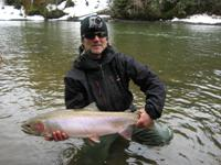 Contact Noel Gyger to book a guided fishing trip to catch a steelhead like this.  Phone: 250-635-2568 E-mail: noel@noelgyger.ca