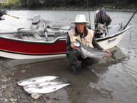Bonnie Girard with a bright, silver Kitimat River Coho (Silver) Salmon