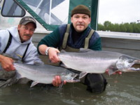 Randy Marshall and Guy Gangl with two Skeena River Coho (Silver) Salmon