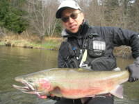 Sinzo Yamada enjoys the conventional spey fly rod but he also enjoys fishing with a Japanese 30 rod with no reel