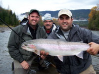 Justin and his father Mike Gyger and Rob Vodola Skeena - Zymoetz Copper River Steelhead