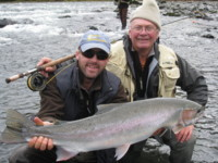 Gill McKean fly fishing Nass River Steelhead