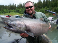 Dustin Kovacvich with Kalum River Chinook (King) Salmon