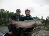 Tracey Hittel holding Kitimat River Chinook (King) Salmon