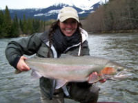 Andrea Charlton with her first Steelhead landed ever.