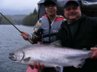 Brian Fugere holding Jeremy Soares Kalum River Chinook (King) Salmon