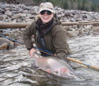 Caitlin Gifford with a huge Zymoetz (Copper) River Steelhead