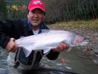 Ron Wakita with a Skeena-Kalum River Steelhead